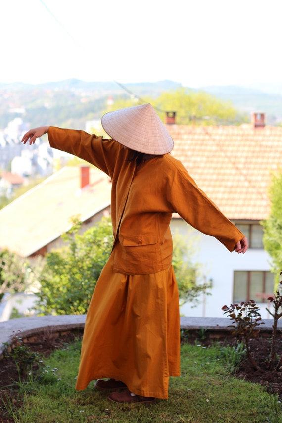 Vintage MARELLA orange linen minimalist jacket Des