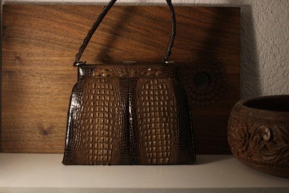 Vintage 60s mini crocodile embossed leather top ha