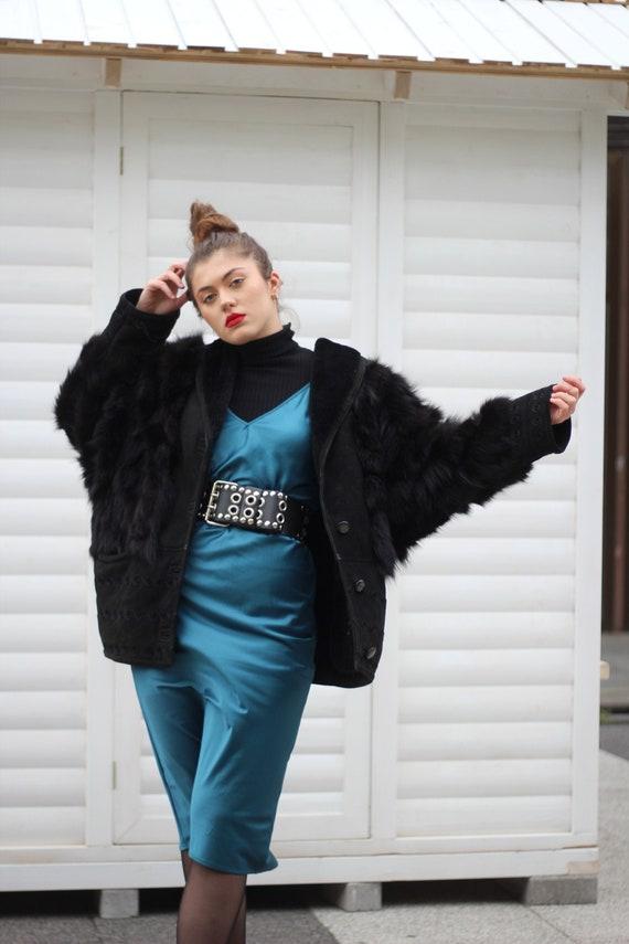 Vintage 80s oversized padded shoulders fur shearli