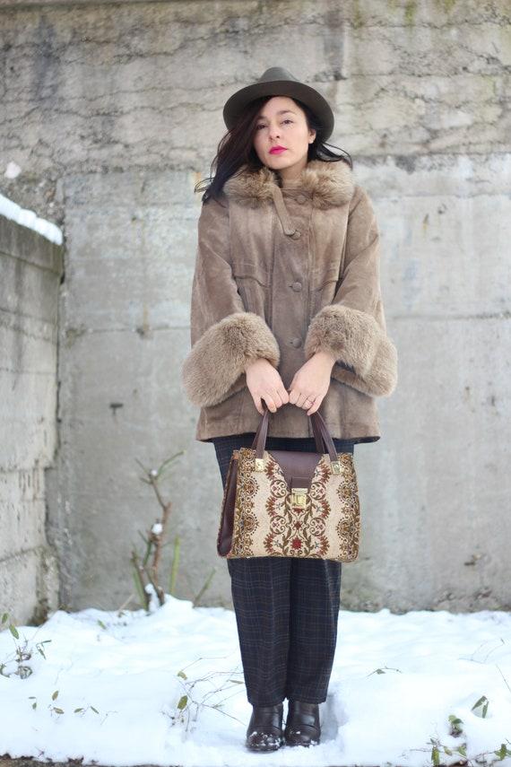 Vintage suede leather fur trim coat Bell sleeves c