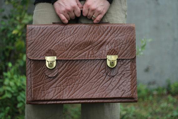 Vintage 50s 60s brown leather briefcase Unisex han