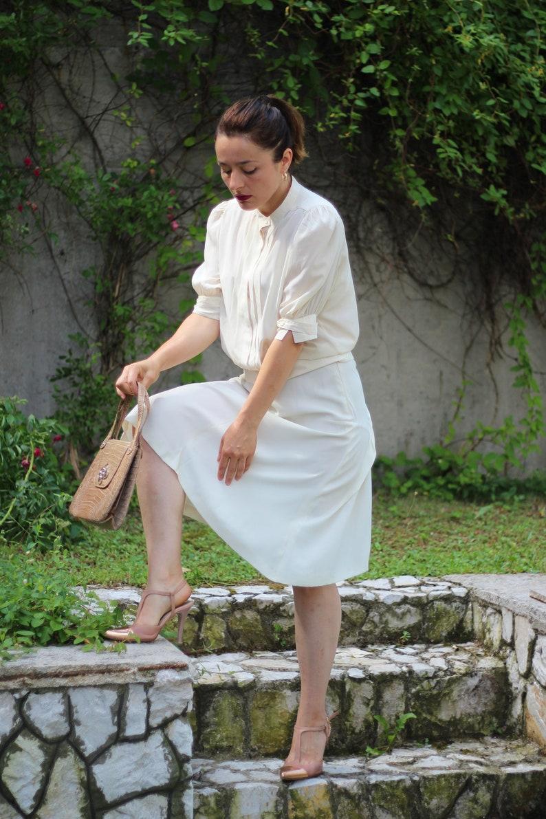 Vintage 90s Jil Sander high waist slip skirt Minimalist cream skirt Casual elegant skirt Summer skirt Designer vintage slip skirt