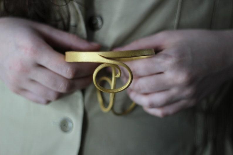 Vintage handmade gold leather choker Romantic fairy necklase choker Golden choker