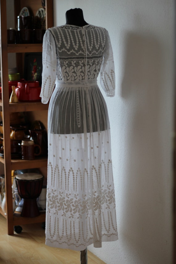 Antique white cotton embroidered lace dress Edward