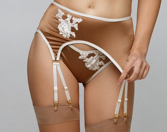 Ancaiqi Suspender Belt,Lingerie for Women Sex,Sexy Lingerie for Women,with Adjustable 6-Straps and Thong L, Basic Black