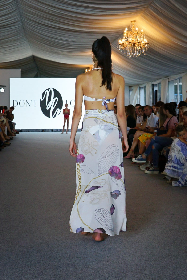 Sheer white chiffon beach skirt with watercolor pattern long printed pareo