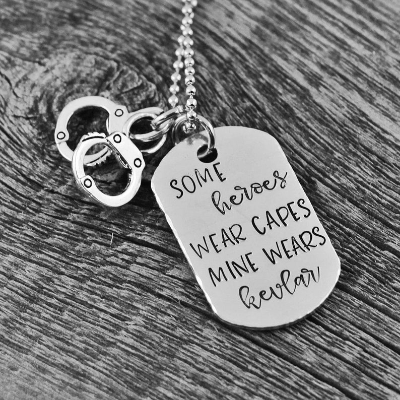 026b853792ce Police Wife Necklace - Mom Dad Husband Daughter Son - Some Heroes Wear  Capes, Mine Wears Kevlar - Mother's Day Gift