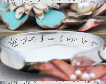 All that I am, I owe to you - Mother of the Groom Gift - From Bride - Wedding Gift - Mother of the Bride Gift Bracelet - Wedding Gift -