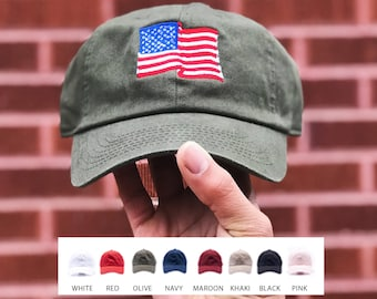 d8de46fbb80 American Flag Embroidered Hat   USA Flag Embroidery Cap   Hats for Women    Hats for Men   United States Dad Cap   FREE SHIPPING