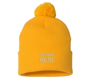52c73129893 Christmas Holiday Beanies for Men and Women   Custom Embroidered Pom Pom  Beanie   Yellow Winter Fleece Beanie   FREE SHIPPING