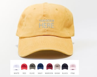 Custom Embroidered Hats / Dad Hat / Embroidery Baseball Cap / Personalize Your Hat / Make Your Statement  / Mustard Dad Cap / FREE SHIPPING