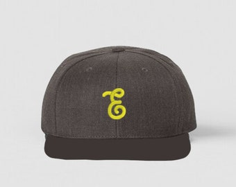 Chocolate and Yellow Embrogo Brand Logo Hat / Snapback Hat / Machine Embroidery / Hats for Men / READY TO SHIP