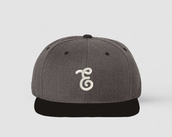 Black and Charcoal Embrogo Brand Logo Hat / Snapback Hat / Machine Embroidery / Hats for Men / READY TO SHIP