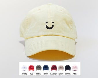Smile Embroidered Hat  / Happy Smile Baseball Cap / Custom Embroidered Dad Hat / Hats for Men / Hats for Women