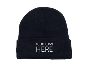 6e29417e98f Custom Embroidered Beanie Hat   Black Winter Fleece Beanie   Beanie for Men    Beanie for Women   Personalize Your Beanie   FREE SHIPPING