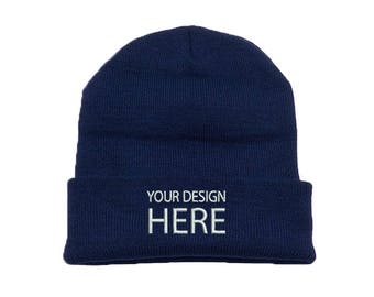 2eaa702a9d557 Custom Embroidered Beanie Hat   Navy Winter Fleece Beanie   Beanie for Men    Beanie for Women   Personalize Your Beanie   FREE SHIPPING