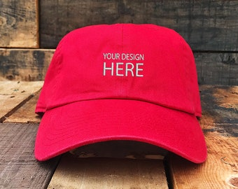 23b116b3676 Custom Embroidered Hats   Dad Hat   Embroidery Baseball Cap   Personalize  Your Hat   Make Your Statement   Red Dad Cap   FREE SHIPPING