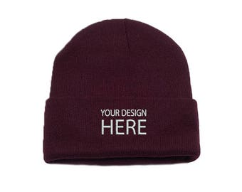 522f0d17caf Custom Beanie   Burgundy Beanie Hat   Personalize your Design   Embroidery  Beanie   Choose Your Text Style   Thread Color   FREE SHIPPING!
