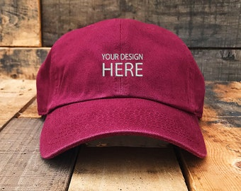 Custom Embroidered Hats   Dad Hat   Embroidery Baseball Cap   Personalize  Your Hat   Make Your Statement   Maroon Dad Cap   FREE SHIPPING a9d0797c34b7