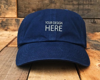 e0e90580c0a Custom Embroidered Hats   Dad Hat   Embroidery Baseball Cap   Personalize  Your Hat   Make Your Statement   Navy Dad Cap   FREE SHIPPING