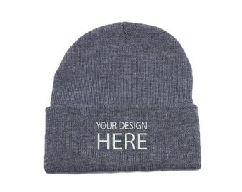cb61889386d Custom Embroidered Beanie   Heathered Grey Winter Fleece Beanie   Beanie  for Men   Beanie for Women   Customized Beanie   FREE SHIPPING