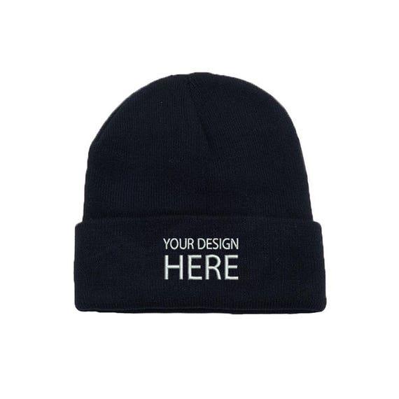 Custom Embroidered Beanie Hat   Black Winter Fleece Beanie    cccbccf734e
