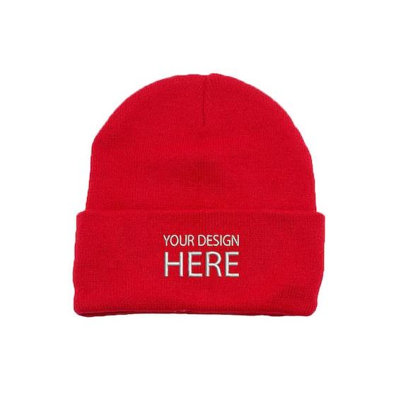 75183059395 Custom Embroidered Beanie Hat   Red Winter Fleece Beanie