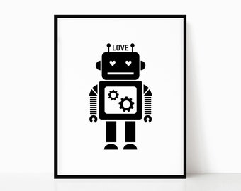 friendship small kindness love black white red best selling top selling Teaching Robot Love gift under 30 robot wall art print