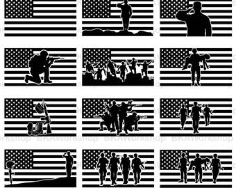 Solider american flag svg - Solider flag vector - Solider american flag digital clipart for Design or more, files download svg, png, dxf