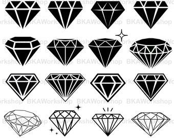 Diamond svg - Diamond vector - Diamond silhouette - Diamond digital clipart for Design or more, files download svg, png,dxf