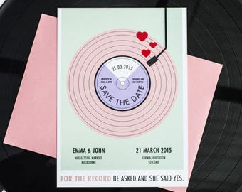 For The Record Save the Date Printable - Vintage Vinyl Record Player