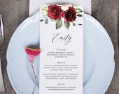 Burgundy Dinner Menu Card with Guest Names on It, Printable Template, 5x7, 3.75x9, Long Length, Editable in Templett, Instant Download F001