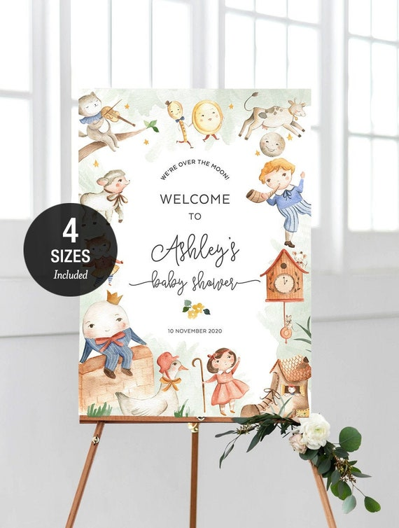 Editable Template A2 /& A1 CEL01 Blue Instant Download 18x24 Celestial Baby Shower Poster 24x36 Welcome Party Board Moon Wedding Sign