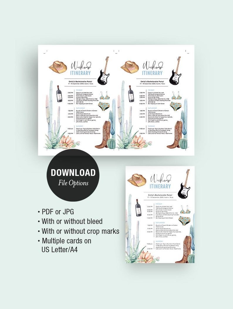 Itinerary Template Weekend Schedule Planner Texas Trip   Etsy