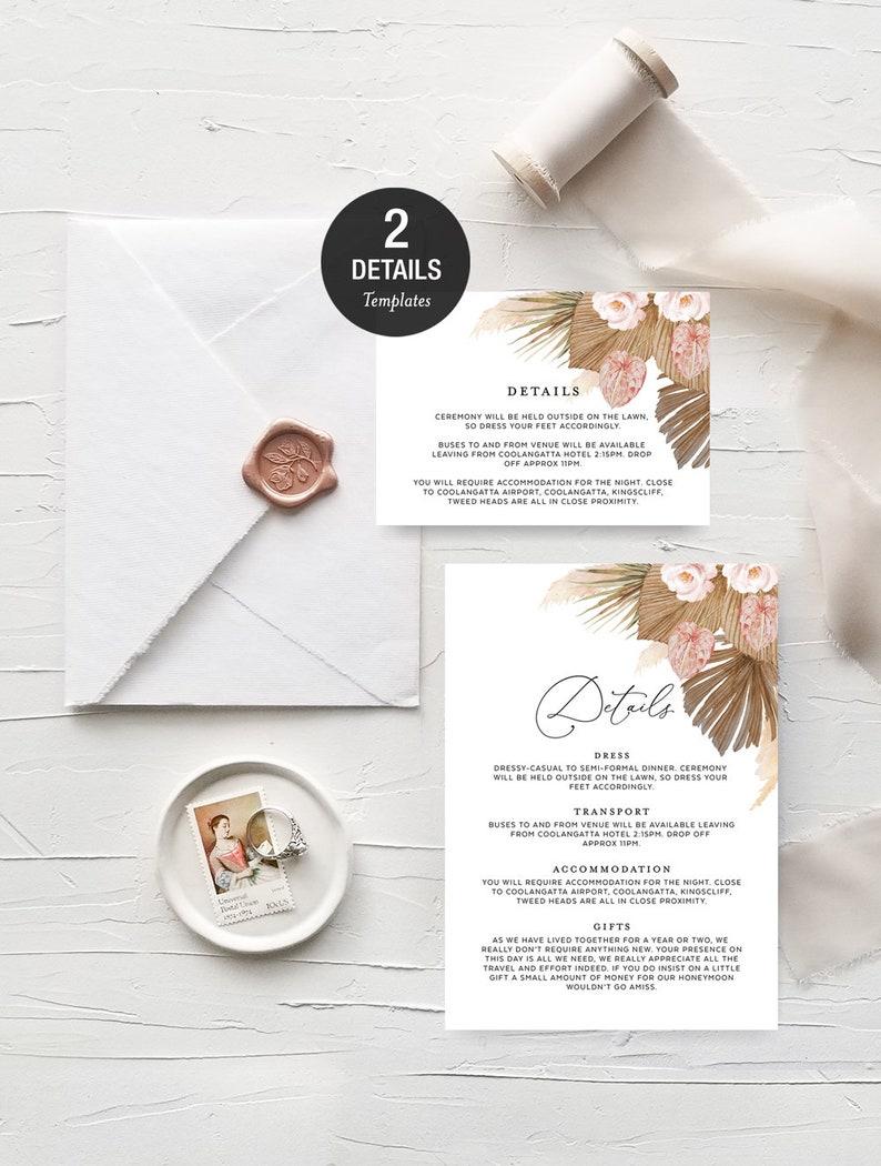 Pampas Grass Wedding Invitation Template Download Dry Leaf Botanical Palm Native Dried Flowers Frame Modern Bohemian Bride GRASS01