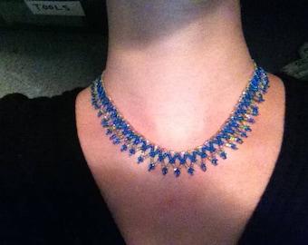 Blue and silver beadweaving collar