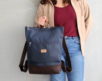 vegan faux leather bottom eco-friendly sack unisex adults Backpack shoulder bag natural dyed cotton fabric hand stamped with trees pattern