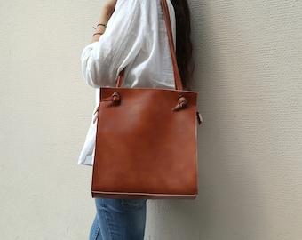 Shoulder leather bag,Vegan leather handbag,Tan leather purse,Tote bag with pocket,Leather purse,Faux leather handbag,Minimalist knot bag