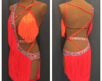 Orange Latin fringe dress