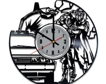 Back To The Future Vinyl Clock - Emmett Brown Marty McFly Vinyl Record Wall Art Home Decor Original Gift For Any Occasion Vintage Handmade