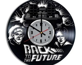 Back To The Future Vinyl Clock - Marty McFly Emmett Brown Vinyl Record Wall Art Home Decor Original Gift For Any Occasion Vintage Handmade