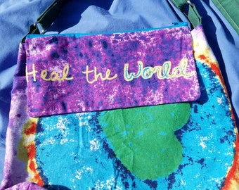 Heal the World, hidden pocket crossbody hippy tie dye handmade unique upcycled bags retro trendy hippy 70s purse one of a kind artistic bag