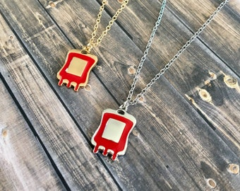 Blood Bag Necklace, Nurse Gift, Blood Donor Gift, Phlebotomy Necklace, Phlebotomist Gift