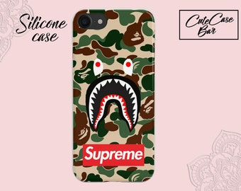 Bape Phone Case Fashion supreme Army A Bathing Ape Camo Shark Camouflage hard Case Matte Cover For iPhone X Plus 6S Plus Fundas Note Case