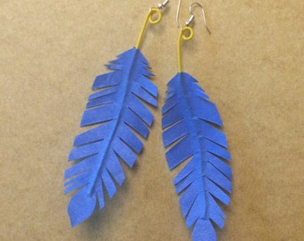 Colorful Feather-Shaped Statement Earrings
