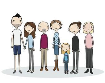 A3 Custom Family Portrait Illustration