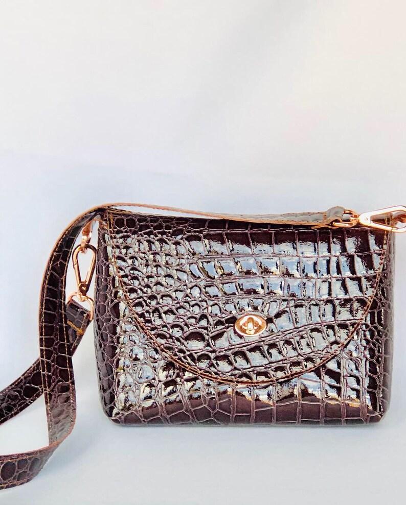 Summer Handbag Chocolate Croc Purse Unique Design Purse Young and Old Purse Chocolate Stylish Croc Bag Feminine Minimalist Handbag