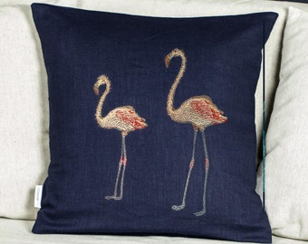 Colorful embroidery Flamingo pillow, Linen cushion cover with embroidery decorative theme