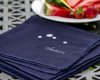 Our star family, Glow in the dark, Personalized Star Napkins, original linen napkin