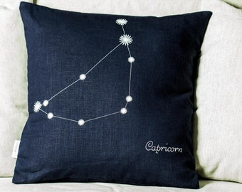 From light to dark, Capricorn Zodiac glowing pillow, Linen cushion cover